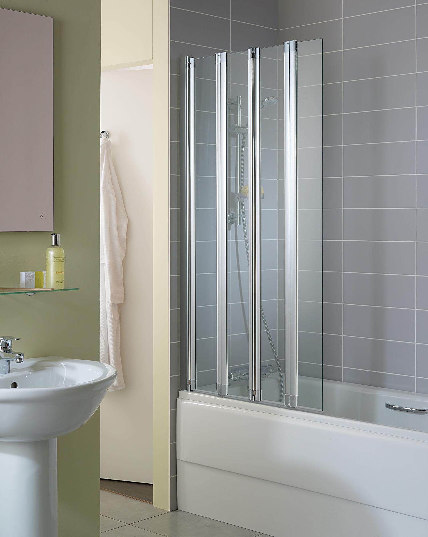 Folding Shower Screens Over Bath Ideal Standard New Connect 4 Panel Folding Bath Screen