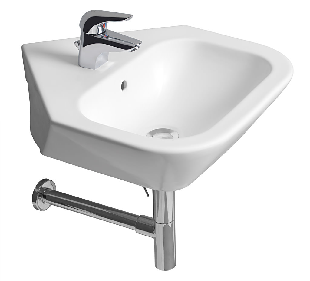 Roca nexo 500mm corner cloakroom basin with 1 taphole for Roca cloakroom basin