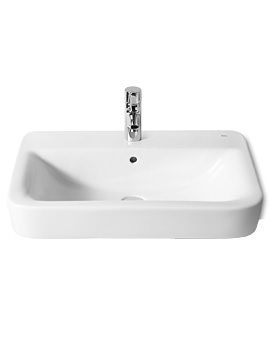 Roca Senso Square 650 x 475mm Wall Hung Basin With 1 Tap Hole