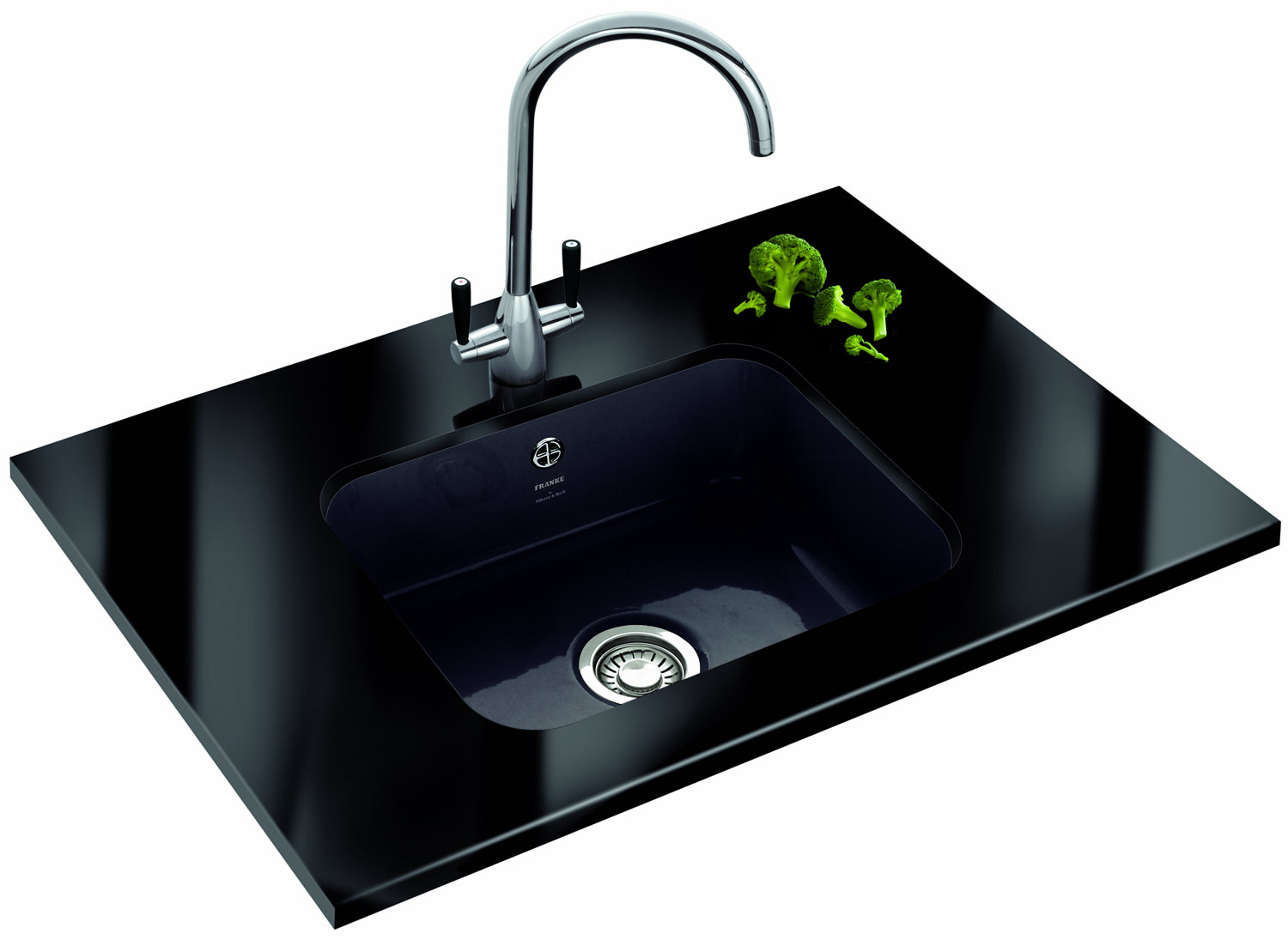 Franke Sinks And Taps : Franke VBK 110 50 Designer Pack - Black Ceramic Sink And Tap