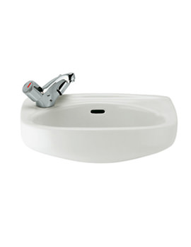 Roca Ibis 440 x 310mm Wall Hung Cloakroom Basin With No Taphole