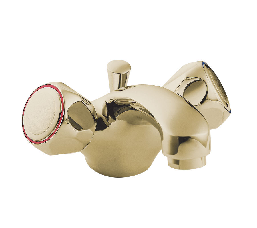 Deva Profile Gold plated Mono Basin Mixer Tap With Pop Up ...