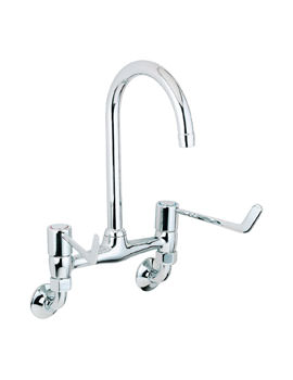 Deva Lever Action Wall Mounted Bridge Sink Mixer Tap With 6 Inch Lever