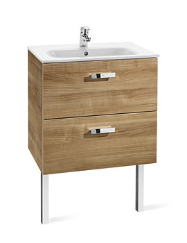 Roca Victoria Basic Unik Basin And Furniture 600mm - Walnut
