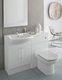Roca Smooth Gloss White Back To Wall WC Unit And Basin Unit 1100mm