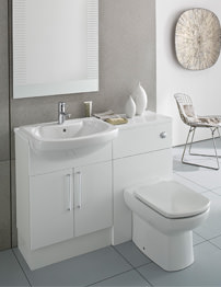 Roca Smooth Gloss White Back To Wall WC Unit And Basin Unit 1200mm