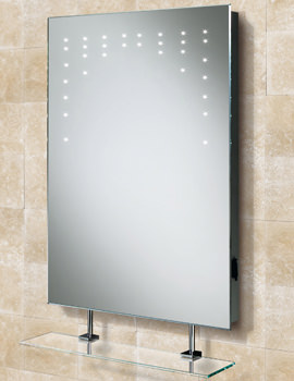 HIB Rain LED Mirror With Glass Shelf And Shaver Socket 500 x 700mm