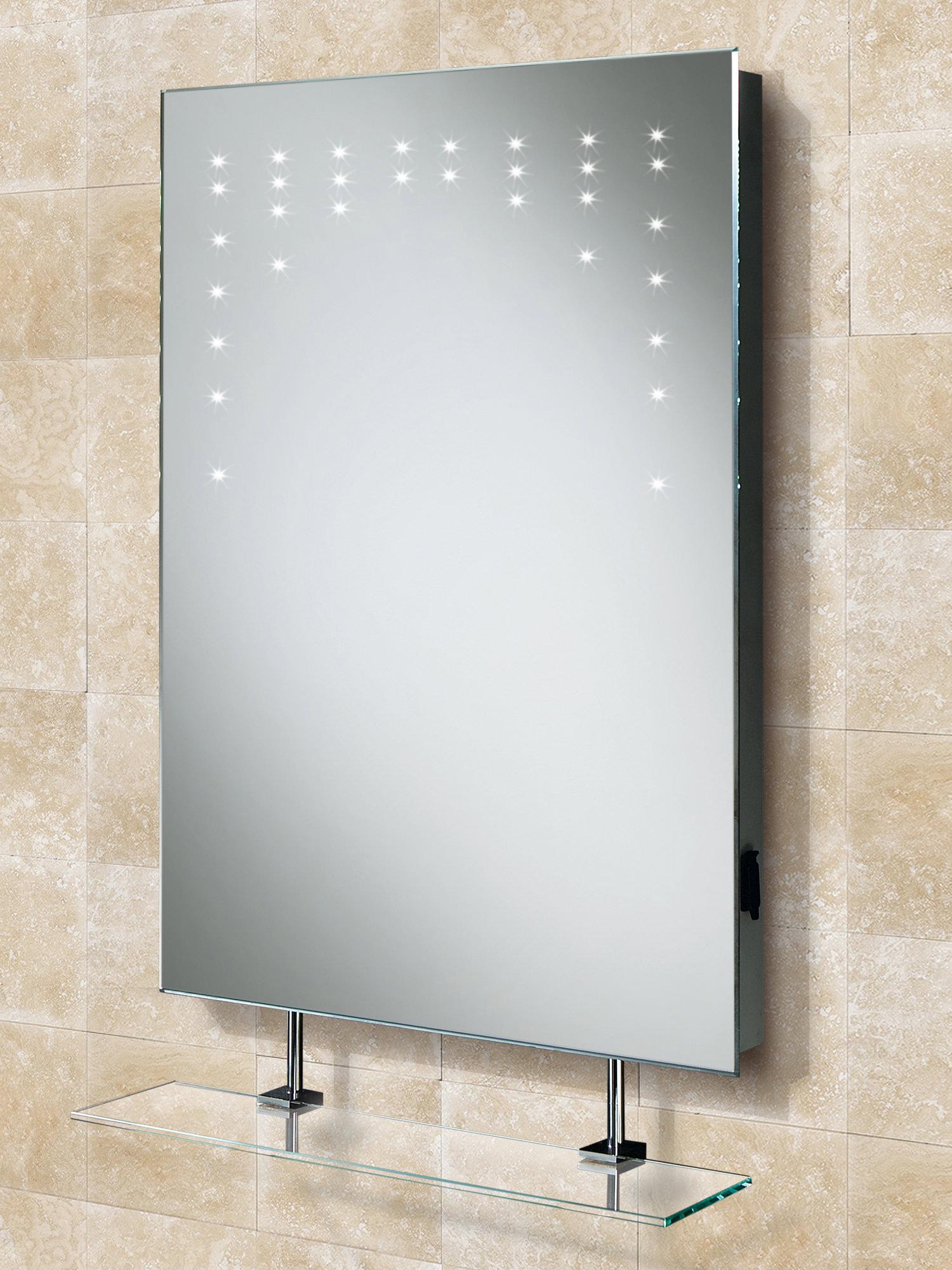 hib rain led mirror with glass shelf and shaver socket 500. Black Bedroom Furniture Sets. Home Design Ideas