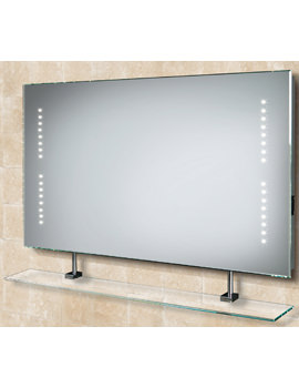 HIB Aztec LED Mirror With Glass Shelf And Shaver Socket 800 x 500mm