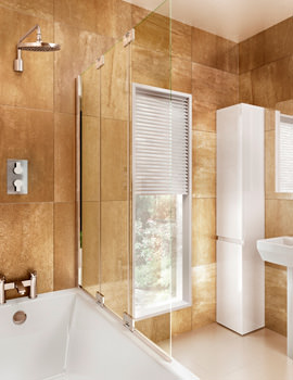 Cleargreen Two Fold Bathscreen 1185 x 1450mm With Fixed Panel Right