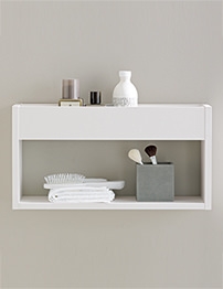 Perfect Brown Shelves With Wicker Storage And Towels
