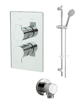 Tre Mercati Angle Concealed Shower Valve With Slide Rail Kit And Wall Outlet