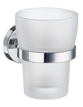 Smedbo Home Frosted Glass Tumbler With Holder