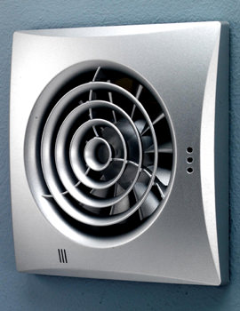 HIB Hush Matt Silver Wall Mounted Fan With Timer And Humidity Sensor
