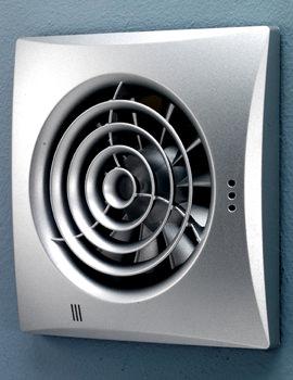 HIB Hush Matt Silver Wall Mounted Fan With Timer And Humidity Sensor