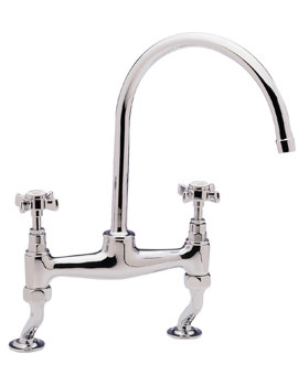 Tre Mercati Imperial Dual Flow Bridge Pillar Sink Mixer Tap Chrome