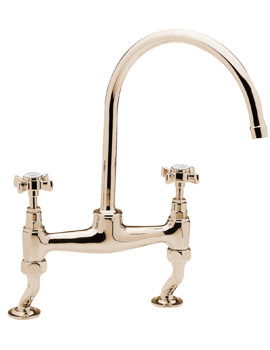 Tre Mercati Imperial Dual Flow Bridge Pillar Sink Mixer Tap Antique Gold