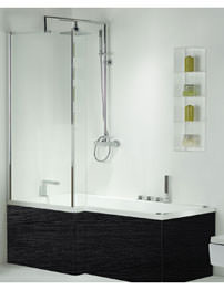Phoenix Pensato Luxury Shower Bath With Negro Panel 1700 x 850mm