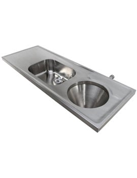 Twyford SS Disposal Hopper-Sink And Worktop 1600 x 600mm Back Inlet