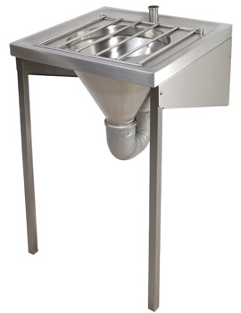 Twyford SS Disposal Hopper Plus Grating Wall Mounted - Top Inlet
