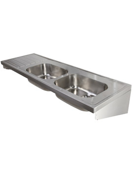 Twyford SS Double Bowl And Left Hand Drainer Sink 1800 x 600mm