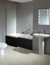 Phoenix Qube Shower Bath With Negro Bath Panel 1700 x 850mm