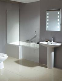 Phoenix Qube Airpool Shower Bath With White Bath Panel 1700 x 850mm