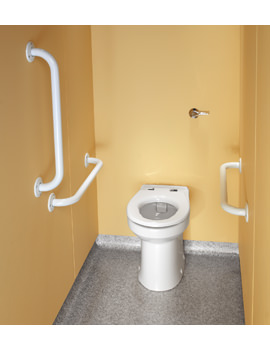 Twyford Doc.M Rimless Ambulant BTW WC Pack With White Grab Rails