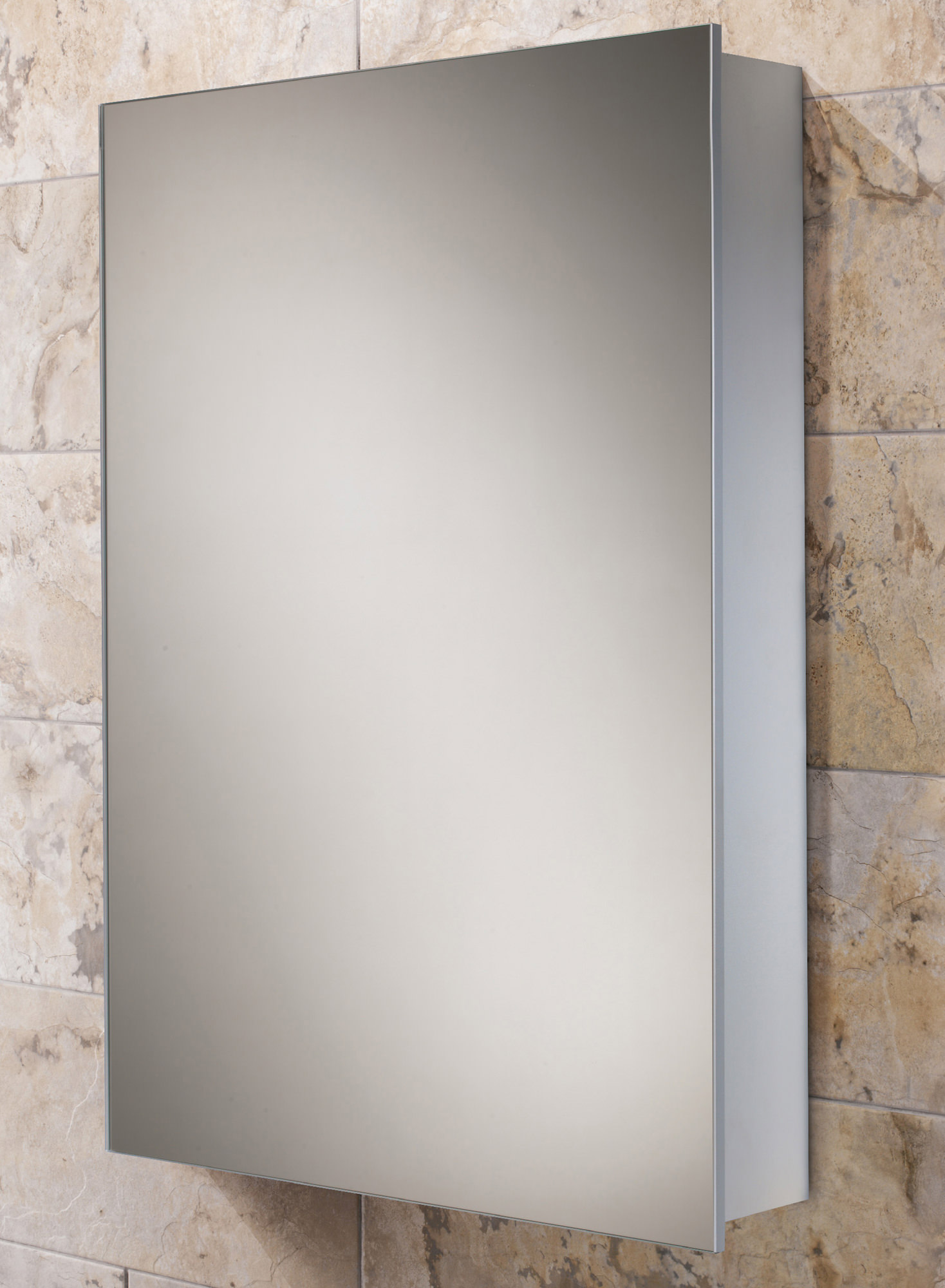 Hib kore slim line aluminium bathroom cabinet 400 x 600mm for Slimline bathroom cabinet