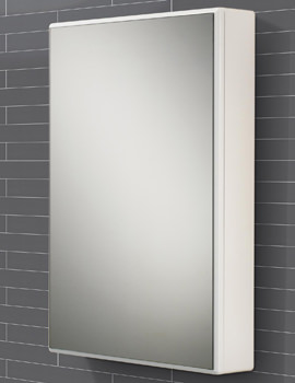 HIB Tulsa Slimline White Single Door Mirrored Cabinet 500 x 700mm
