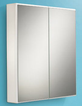 HIB Jersey Slimline White Double Door Mirrored Cabinet 650 x 700mm