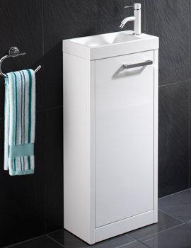 HIB Solo White Floor Standing Vanity Unit 400 x 845mm