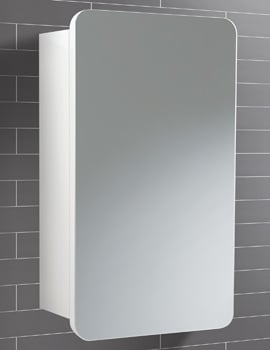 HIB Montana White Single Door Bathroom Mirrored Cabinet 350 x 570mm