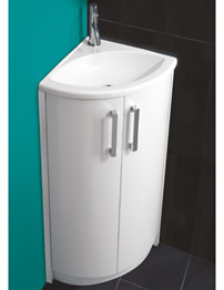 HIB Solo Corner Vanity Unit And Wave Basin 625 x 820mm