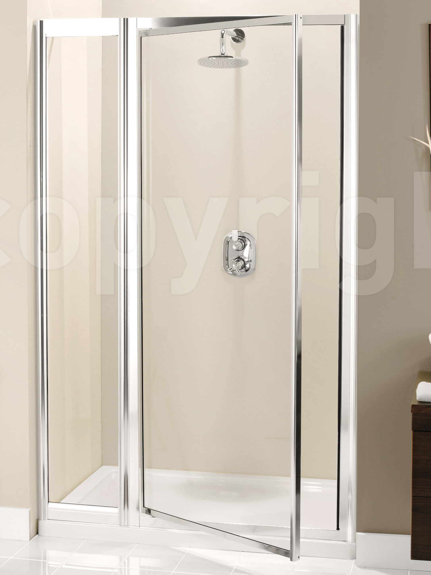 Simpsons supreme 1000mm pivot shower door with inline panel for 1000mm shower door