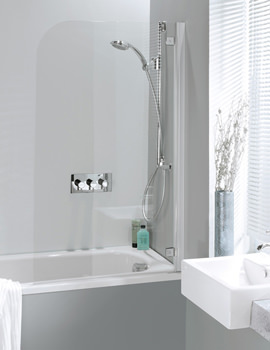 Simpsons Supreme Deluxe 850mm Bath Screen With Silver Hinges