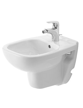 Duravit D-Code 350 x 480mm 1 Tap Hole Compact Wall Mounted Bidet