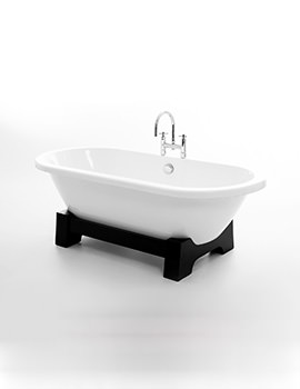 Royce Morgan Osaka Freestanding Bath With Dark Oak Base 1750 x 790mm