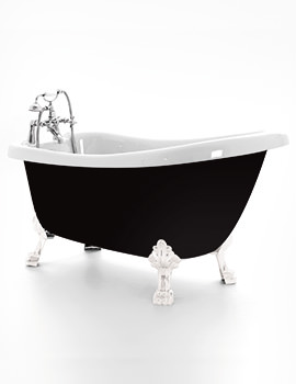 Royce Morgan Crystal Black 1680 x 720mm Traditional Freestanding Bath