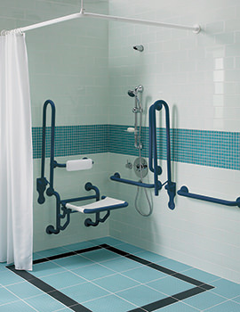 Twyford Doc.M Shower Pack With Blue Grab Rails And Seat