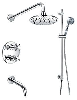 Flova XL Thermostatic Slide Rail Shower Set With Bath Spout
