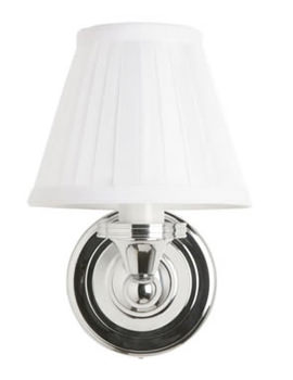Burlington Round Light With Chrome Base And Fine Pleated White Shade