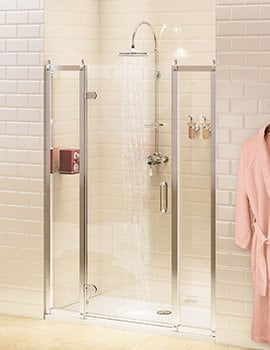 Burlington Hinged Shower Door 800mm And 400mm In-Line Panel