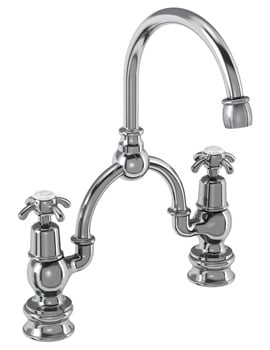 Burlington Anglesey Regent 2 TH Arch Basin Mixer Tap 230mm Centres