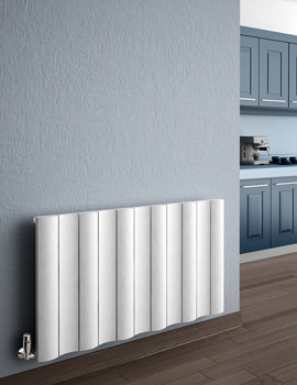 Reina Gio White Horizontal Double Panel Aluminium Radiator 1040 x 600mm