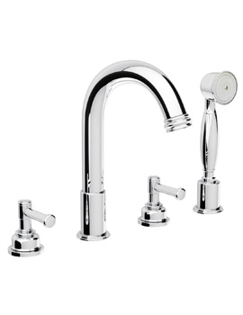 Abode Gallant Deck Mounted 4 Tap Hole Bath Shower Mixer Tap With Handset