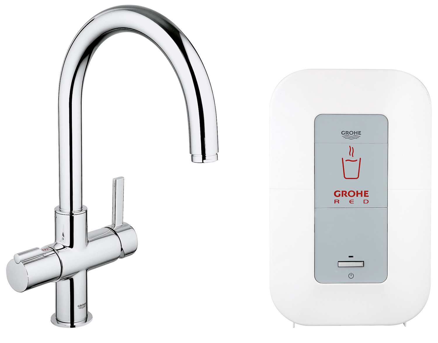 grohe red duo chrome c spout faucet and single boiler 4 litres. Black Bedroom Furniture Sets. Home Design Ideas