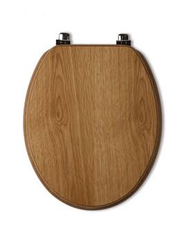 Tavistock Millennium Natural Oak Toilet Seat With Chrome Hinges