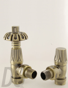 DQ Heating Morgan TRV Angled Thermostatic Radiator Valves Antique Brass