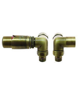 DQ Heating Saturn Corner TRV Luxury Thermostatic Radiator Valves Chrome